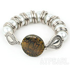 Fancy 12-25Mm Shell Beads And Round Burst Pattern Agate Bangle