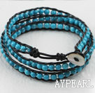 23.6 inches blue turquoise wrapped leather bracelet