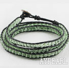 Wholesale 23.6  inches manmade crystal wrapped leather bracelet