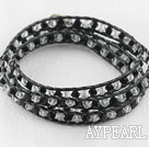 Wholesale 23.6 inches manmade white and black crystal wrapped leather bracelet