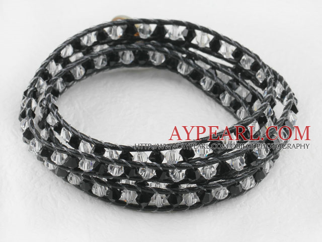 23.6 inches manmade white and black crystal wrapped leather bracelet