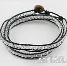 Wholesale 23.6  inches manmade clear crystal wrapped leather bracelet