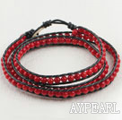 Wholesale 23.6  inches red coral wrapped leather bracelet