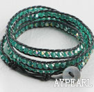 23.6  inches manmade green crystal wrapped leather bracelet