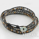 Wholesale 23.6  inches manmade golden color crystal wrapped leather bracelet