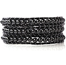 23.6  inches tungsten steel stone wrapped leather bracelet