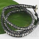 23.6 inches manmade crystal wrapped leather bracelet