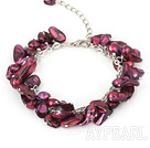 dyed purple pearl bracelet  with extendable chain