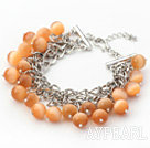 Wholesale Orange Color 10mm Round Cats Eye Bracelet with Metal Chain