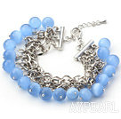 Sky Blue Color 10mm Round Cats Eye Bracelet with Metal Chain