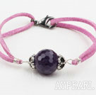 Wholesale Simple Style 16mm Faceted Amethyst Bracelet with Purple Red Cord