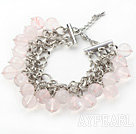 Pink Color 10mm Round Rose Quartz Bracelet with Metal Chain