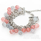 Pink and Gray Color 10mm Round Cherry Quartz and Cats Eye Bracelet with Metal Chain