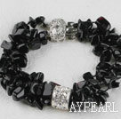 6-7mm multi strand black stone chips beaded bracelet