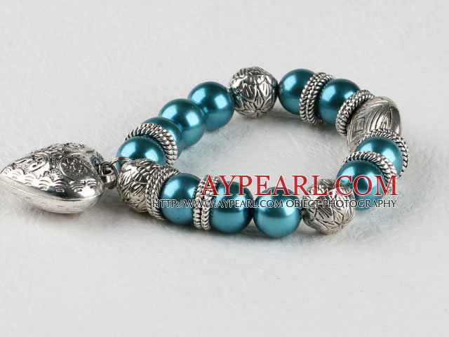 blue seashell beaded elastic bracelet with heart shape accessories