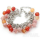 Pink and Orange Color 10mm Round Strawberry Quartz and Agate Bracelet with Metal Chain