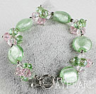 Wholesale green crystal and colored glaze bracelet with toggle clasp