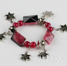 Wholesale red crystallized agate and star shape accessories charm bracelet