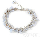 Wholesale 6-8mm blue jasper chips bracelet with extendable chain
