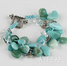Wholesale three strand amazon stone bracelet with toggle clasp