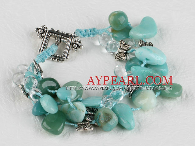 three strand amazon stone bracelet with toggle clasp