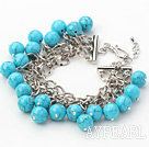 Wholesale Blue Series 10mm Round Blue Turquoise Bracelet with Metal Chain