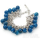 Wholesale Blue Series 10mm Round Faceted Blue Agate Bracelet with Metal Chain