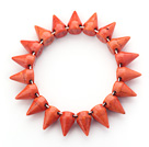 Simple Style Orange Red Color Turquoise Punk Bullet Stretch Bangle Bracelet