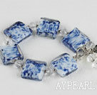 Wholesale blue and white crystal and colored glaze bracelet