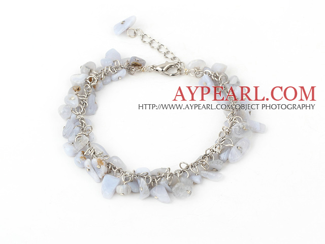 6-8mm blue jasper chips bracelet with extendable chain