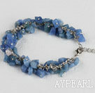 Wholesale single strand blue aventurine chips bracelet with adjusable chain