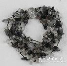 Wholesale multi strand black rutilated quartz bracelet