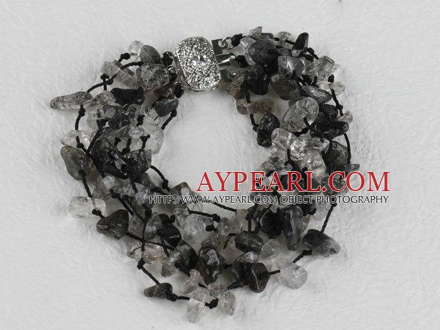 multi strand black rutilated quartz bracelet