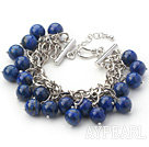 Wholesale Dark Blue Series 10mm Round Lapis Bracelet with Metal Chain
