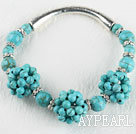 Wholesale 7.9 inches blue turquoise stone bangle bracelet