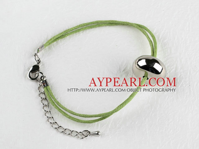 simple style metal beads bracelet with extendable chain