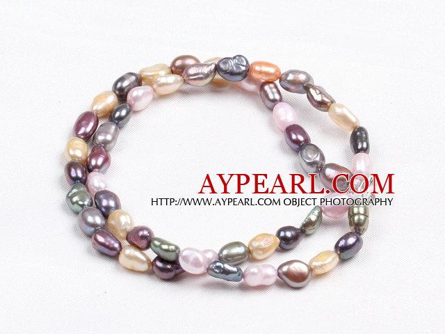 Elegant Double Layer Natural Multi Color Freshwater Baroque Pearl Bracelet