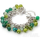 Wholesale Green Series Green Cats Eye and Green Rutilated Quartz Bracelet with Metal Chain