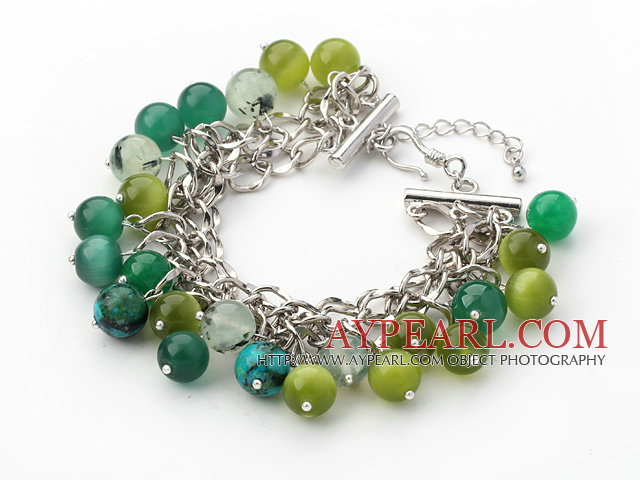 Green Series Green Cats Eye and Green Rutilated Quartz Bracelet with Metal Chain