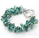 New Design Two Rows Dark Green Drop Crystal Bracelet