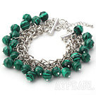 Green Series 10mm Round Green Malachite Bracelet with Metal Chain