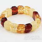 Gul Series Imitasjon Amber Square Elastic Bangle Bracelet