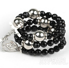 20.5 inches 8mm faceted black agate wrap bangle bracelet with cross charm