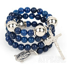 Wholesale 20.5 inches 8mm faceted blue agate bangle bracelet with cross charm