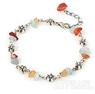 Wholesale natual agate and aquamarine bracelet with extendable chain