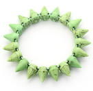 Wholesale Simple Style Apple Green Color Turquoise Punk Bullet Stretch Bangle Bracelet