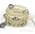 Wholesale 20.5 inches 8mm faceted citrine wrap bangle bracelet with cross charm