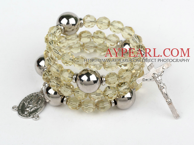 20.5 inches 8mm faceted citrine wrap bangle bracelet with cross charm