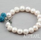 White Screw Thread Freshwater Pearl Bridal Bracelet with Blue Rhinestone Ball and Heart Shape Toggle Clasp