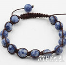 8mm Blue Spots Woven Drawstring Bracelet with Adjustable Thread